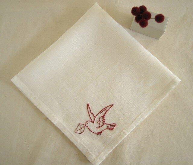 小鳥のリネンハンカチ(White+Red)の画像1枚目