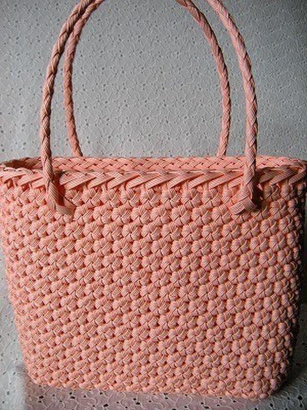 花結び編みのてさげかごの画像1枚目