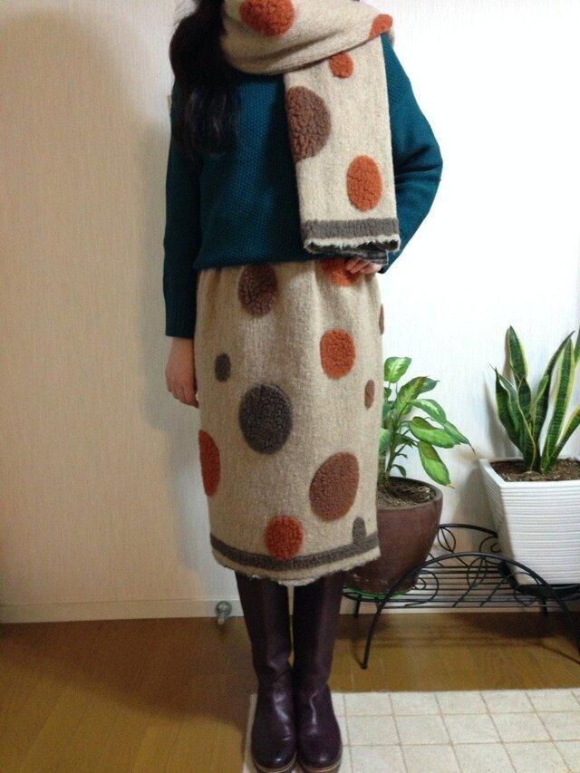 ウールニット ストール付きスカートの画像1枚目