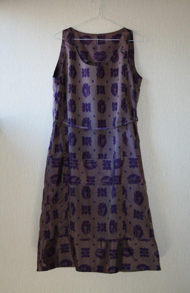 絹 銘仙 花格子 紫 ノースリーブワンピース Lサイズ の画像1枚目