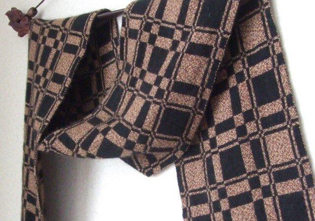 手織りカシミアマフラー・・エスプレッソの画像1枚目
