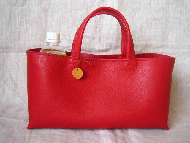 【H様オーダー品】しっかり横長トートバッグ(赤色・M)の画像1枚目