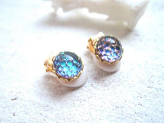 Sea bubble earrings  ヘリオグリーン の画像1枚目