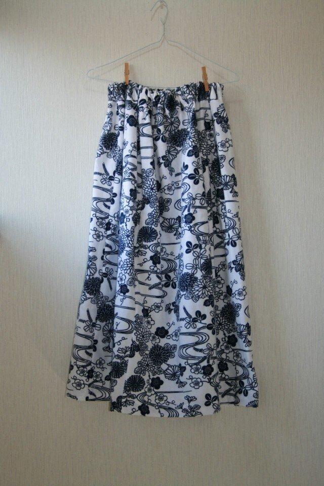 綿 浴衣地 ガーゼ裏打ち マキシゴムスカート Fサイズの画像1枚目