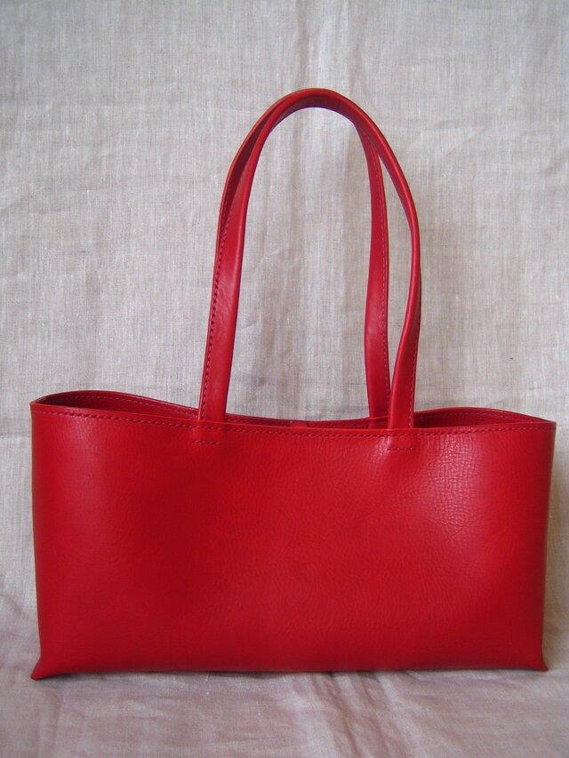 【U様オーダー品】しっかり横長トートバッグ(赤・L)の画像1枚目