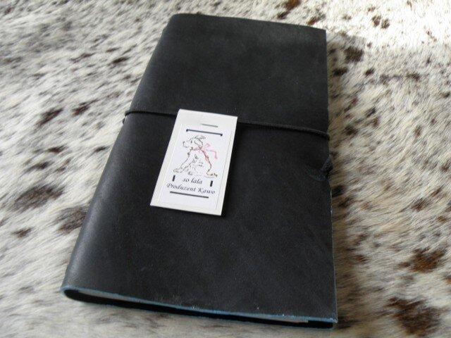 y様専用ページ A5変形 グローブレザーの手等カバー トラベラーズ 黒×水色の画像1枚目