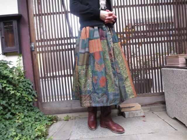 着物リメイク☆上質大島などを色々パッチ☆大人スカート75cm丈の画像1枚目
