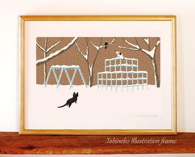 たびねこイラストフレーム-02|雪のジャングルジムの画像1枚目