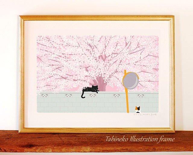 たびねこイラストフレーム-04|桜の樹の下での画像1枚目