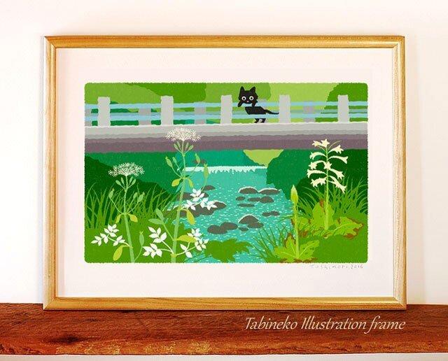 たびねこイラストフレーム-07|橋の下で咲くの画像1枚目