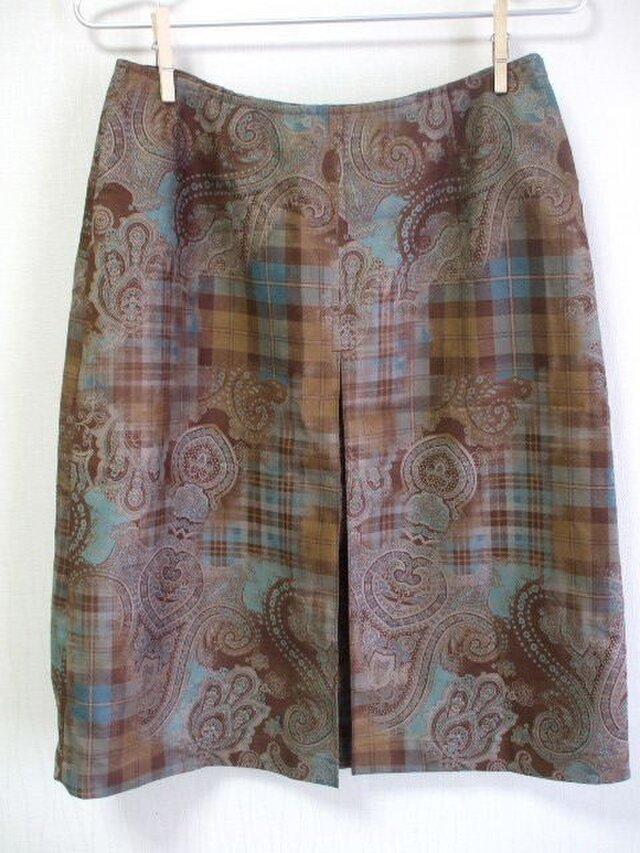 【セール品】前ボックスプリーツ入り台形スカート Lサイズ スエード風生地の画像1枚目
