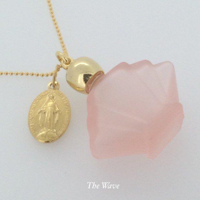 フランスアンティークメダイと香水瓶のネックレス -Pink-の画像1枚目
