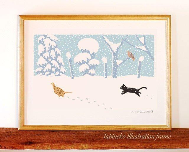 たびねこイラストフレーム-12|雪のあしあとの画像1枚目