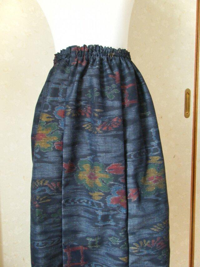 紬リメイクスカートの画像1枚目