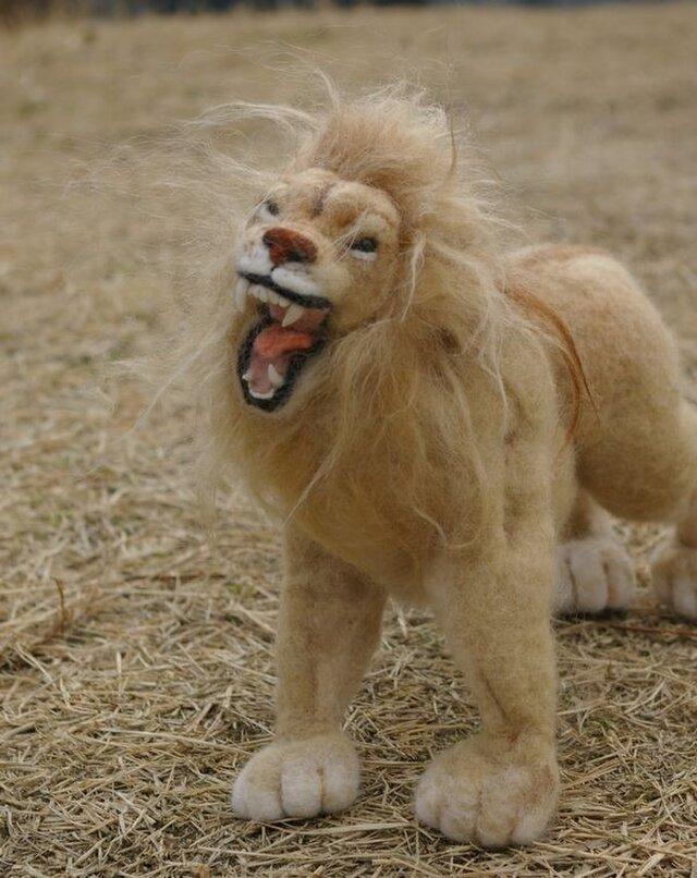 羊毛フェルト 「ライオンの雄叫び」の画像1枚目