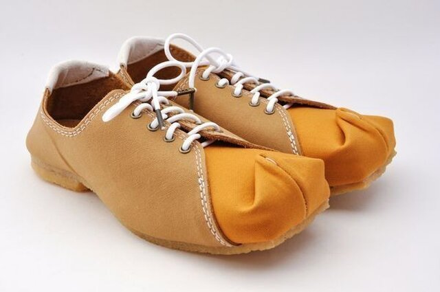 『tote sneakers』camel x light-brown canvasの画像1枚目