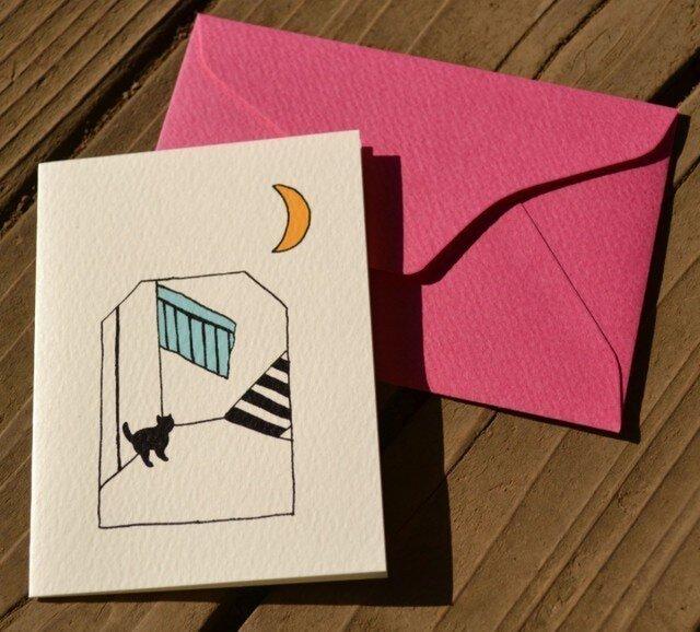 封筒付カード 黒猫散歩(階段) 2セットの画像1枚目