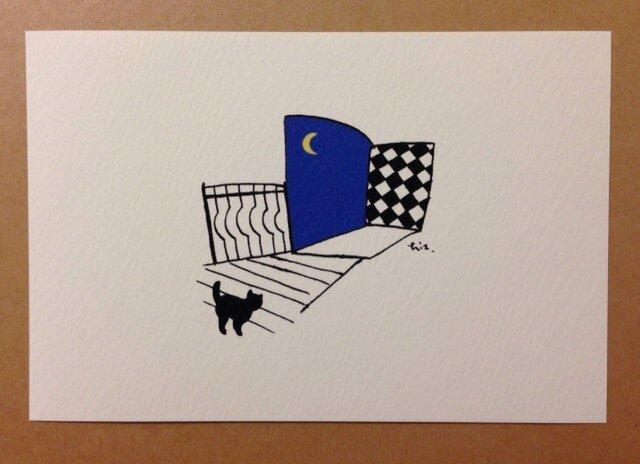 ポストカード 黒猫散歩(窓) 2枚の画像1枚目