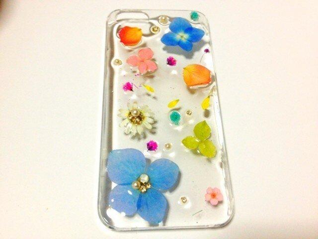 O様オーダー♪大人かわいい♪色とりどりの花でIPHONE5ケースの画像1枚目