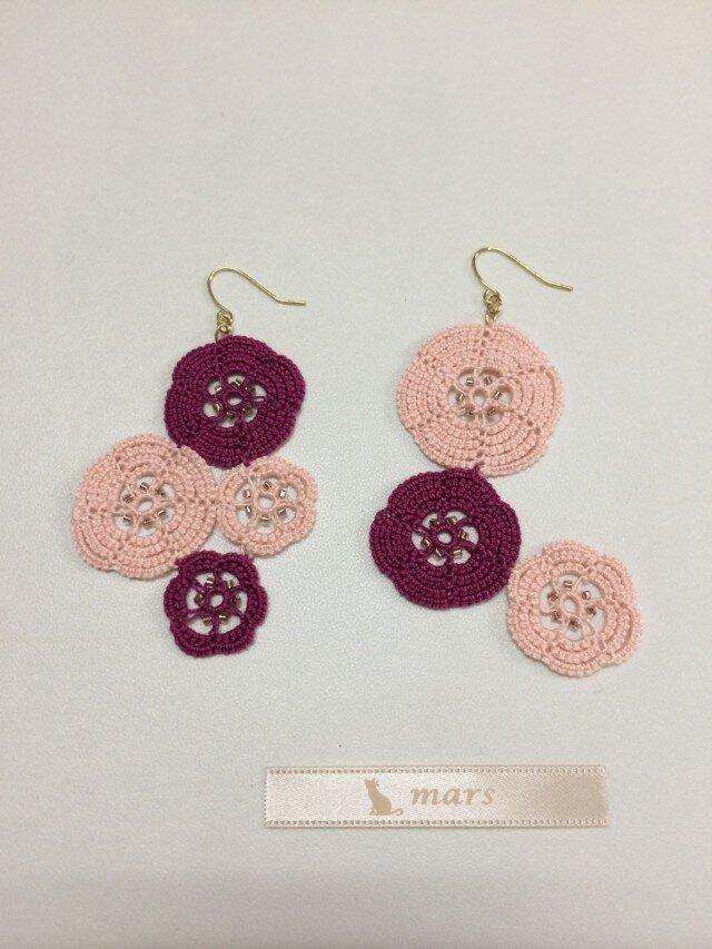 和菓子みたいなピアス pink × purpleの画像1枚目