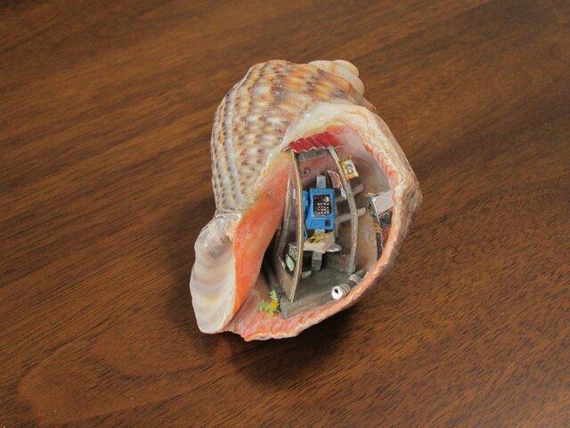 貝がら ミニチュア 青電話の画像1枚目