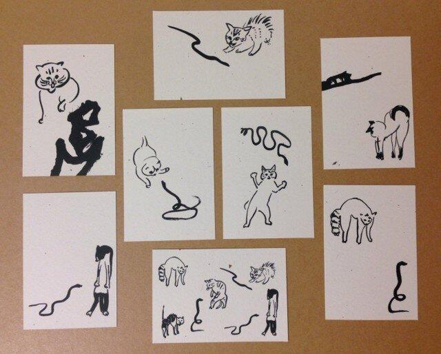ミニカードセット 猫×ヘビの画像1枚目