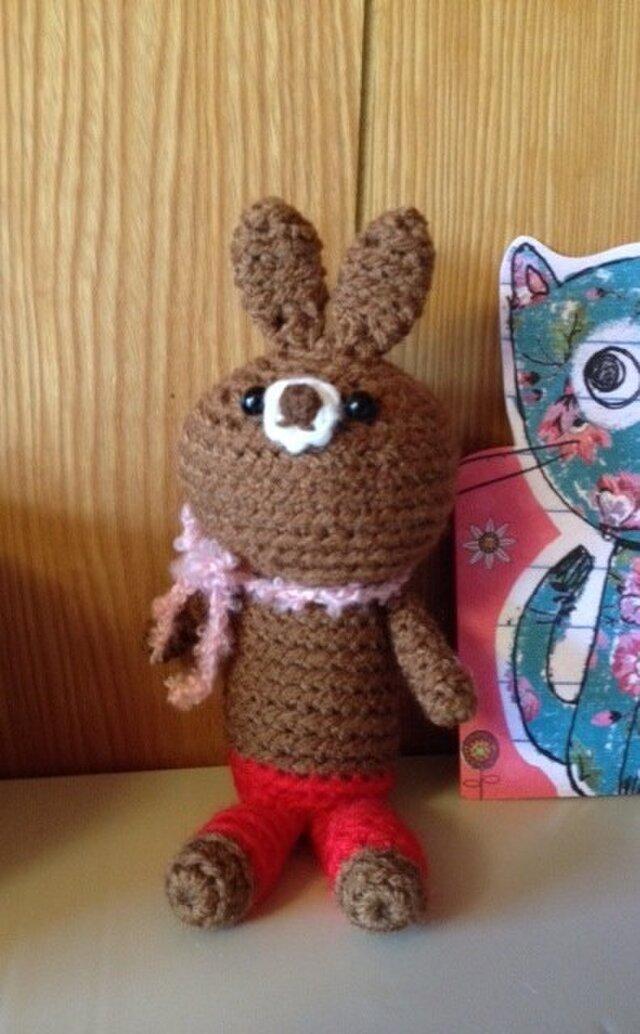 手編みウサギさん ブラウンちゃんの画像1枚目