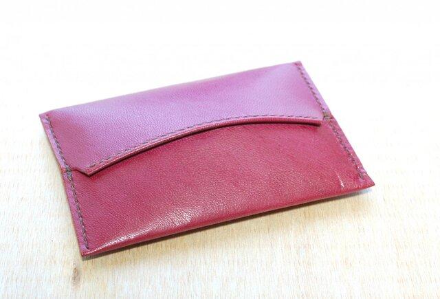 革のポケットティッシュカバー(赤紫:ワインレッド)の画像1枚目