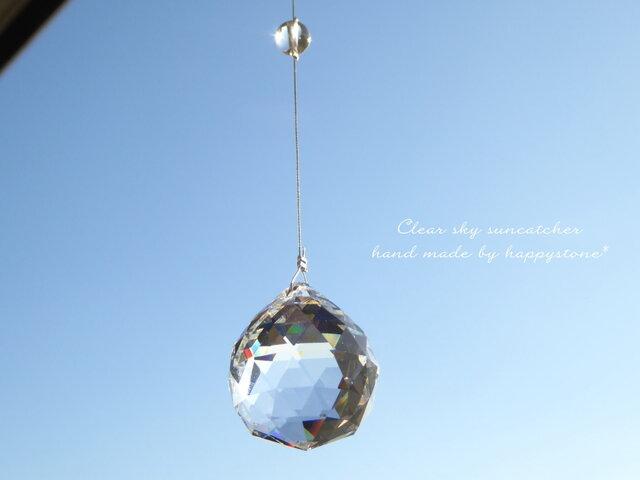 一番人気♪Clear sky*天然石とスワロフスキーのサンキャッチャーの画像1枚目