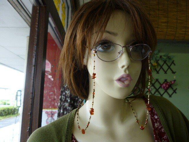 カーネリアンさざれ石 眼鏡ストラップの画像1枚目