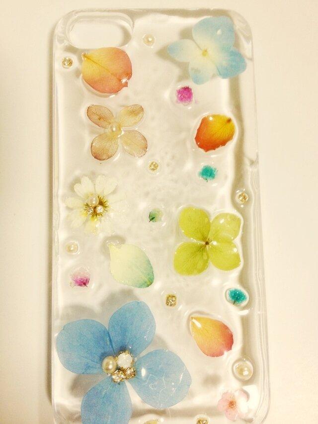 o様オーダー♪シンプルな花で大人かわいいIPHONE5ケース♪の画像1枚目