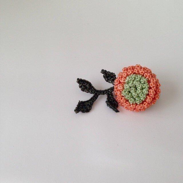 お花のブローチ  (おれんじ)の画像1枚目