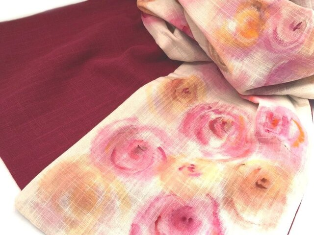 ガーゼストール手描き柄・薔薇の花束の画像1枚目