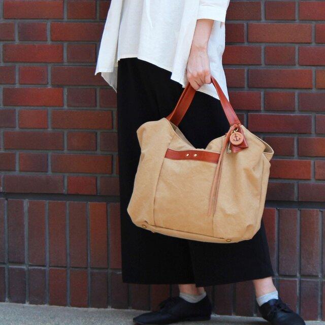 tanton-タン(タンニン染め帆布×レザーバッグ)の画像1枚目