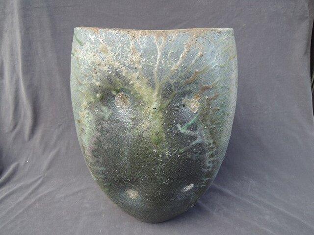 花器  [緋炎焼き締め扁壷]の画像1枚目