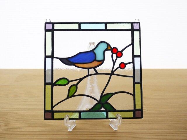 ステンドグラス ミニパネル 小鳥 15cmの画像1枚目