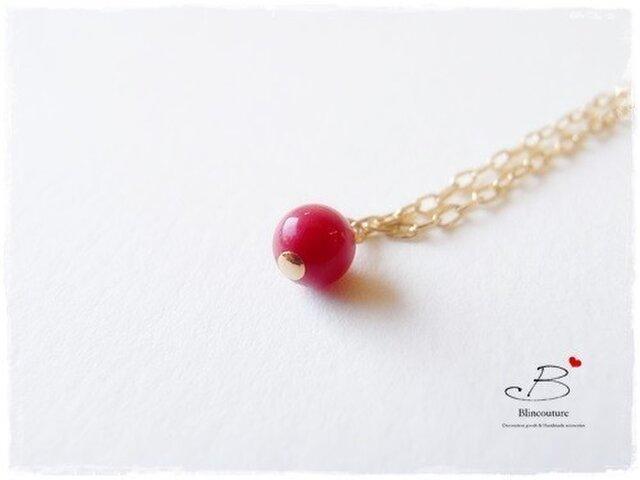 N005赤サンゴの一粒ネックレスの画像1枚目