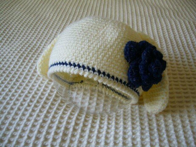 アニマル・ニット帽(青花うさぎ)の画像1枚目