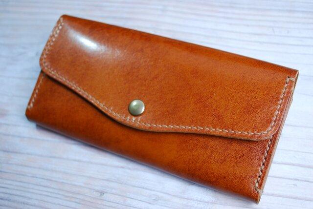 [送料無料] 手縫いの軽くて丈夫な 高級アンティークレザー長財布CAの画像1枚目