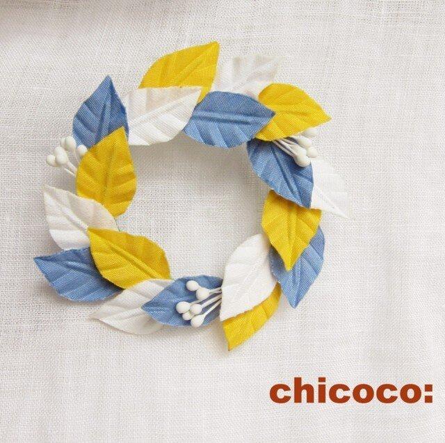 木の葉の輪 ブルー×イエロー×ホワイトの画像1枚目