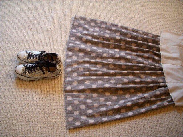 セール!みずたまの久留米絣のスカート(グレー)の画像1枚目