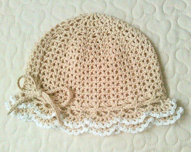 フリルのお帽子   ~ 46cm    ラテベージュの画像1枚目