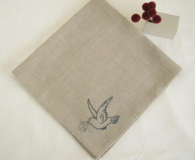 小鳥のリネンハンカチ(Flax+Blue)の画像1枚目