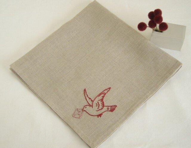小鳥のリネンハンカチ(Flax+Red)の画像1枚目