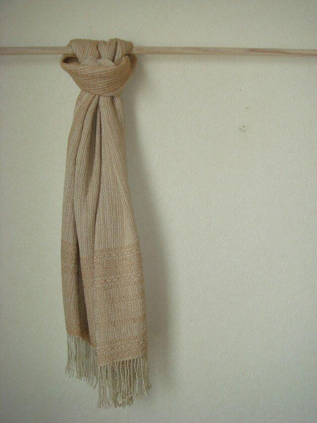 <手織り>ストール*茶綿の画像1枚目