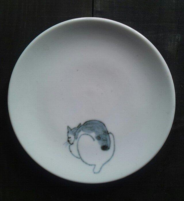 染付4寸猫皿 1の画像1枚目
