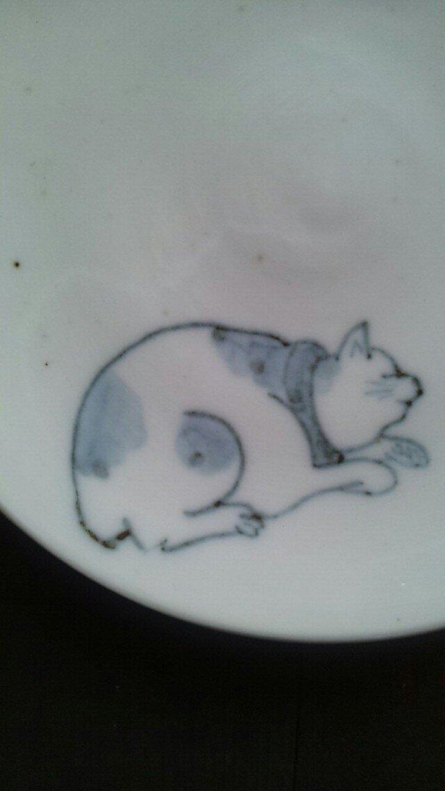染付4寸猫皿 2の画像1枚目