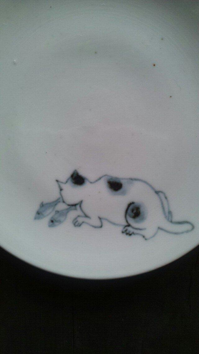 染付4寸猫皿 6の画像1枚目