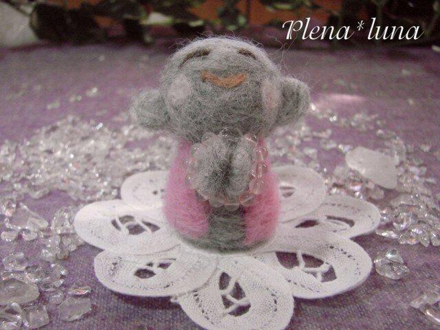 こ地蔵さん ピンクS006GRY(ローズクオーツ)の画像1枚目