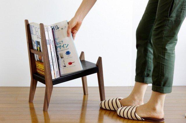 【book rest chair】マガジンラック/革張りの画像1枚目